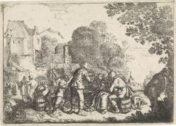 Boerenfeest met mandolinespeler, Jan Miense Molenaer, 1619 - 1668. Eau-forte, 11,6x16,4 cm. Source : Rijksmuseum.